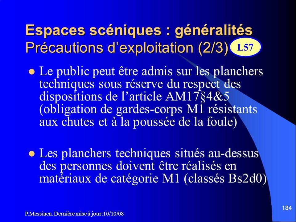 P.Messiaen. Dernière mise à jour:10/10/08 183 Espaces scéniques : généralités Précautions d'exploitation (1/3)  Il est interdit de fumer dans les esp