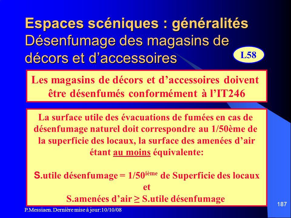P.Messiaen. Dernière mise à jour:10/10/08 186 Espaces scéniques : généralités Vérifications techniques Vérifications imposées par le règlement de sécu