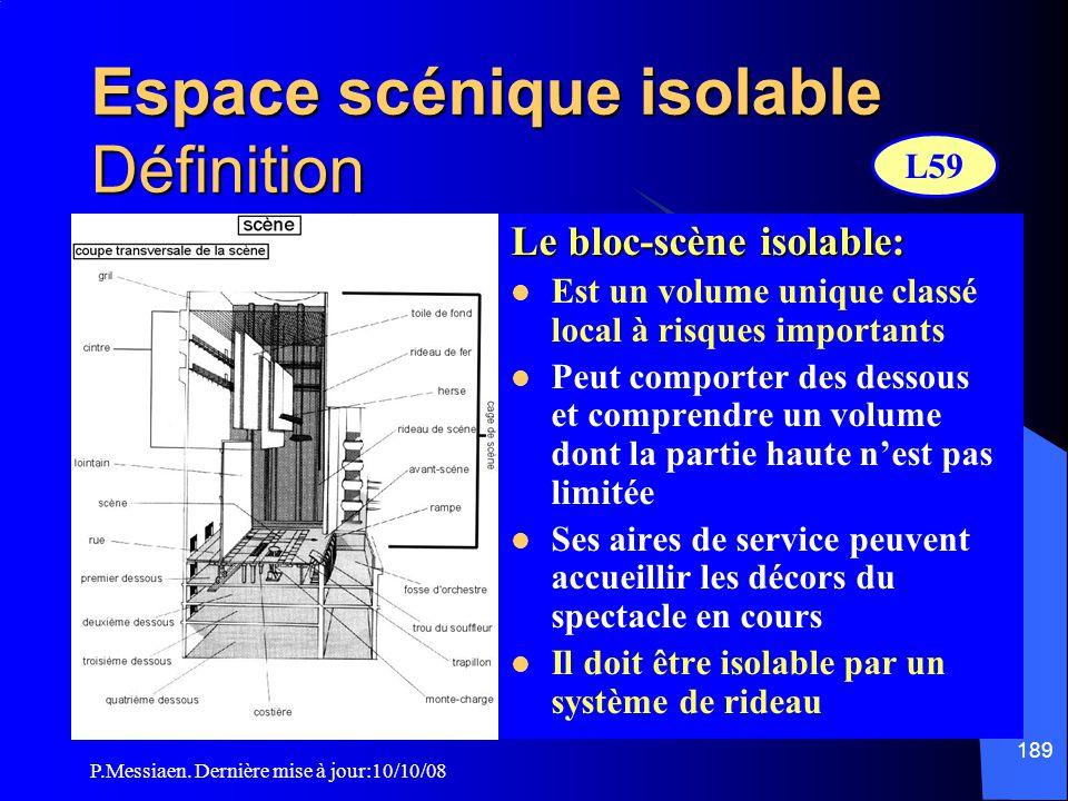 P.Messiaen. Dernière mise à jour:10/10/08 188 Espace scénique isolable de la salle