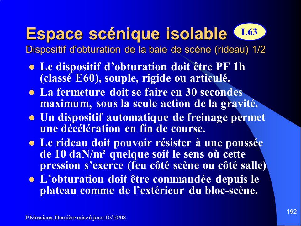 P.Messiaen. Dernière mise à jour:10/10/08 191 Espace scénique isolable Mur de la baie de scène Le mur de la baie de scène : - doit exister sur toute l