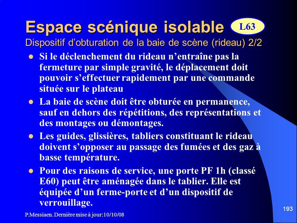 P.Messiaen. Dernière mise à jour:10/10/08 192 Espace scénique isolable Dispositif d'obturation de la baie de scène (rideau) 1/2  Le dispositif d'obtu