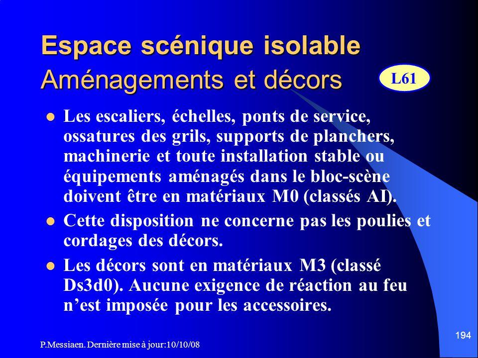P.Messiaen. Dernière mise à jour:10/10/08 193 Espace scénique isolable Dispositif d'obturation de la baie de scène (rideau) 2/2  Si le déclenchement