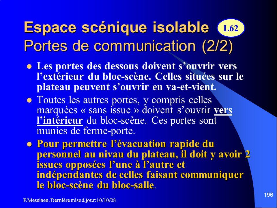 P.Messiaen. Dernière mise à jour:10/10/08 195 Espace scénique isolable Portes de communication (1/2)  Le mur du bloc scène ne doit contenir que les b
