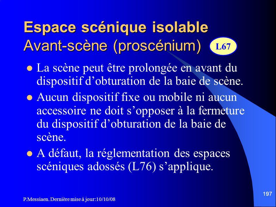P.Messiaen. Dernière mise à jour:10/10/08 196 Espace scénique isolable Portes de communication (2/2)  Les portes des dessous doivent s'ouvrir vers l'