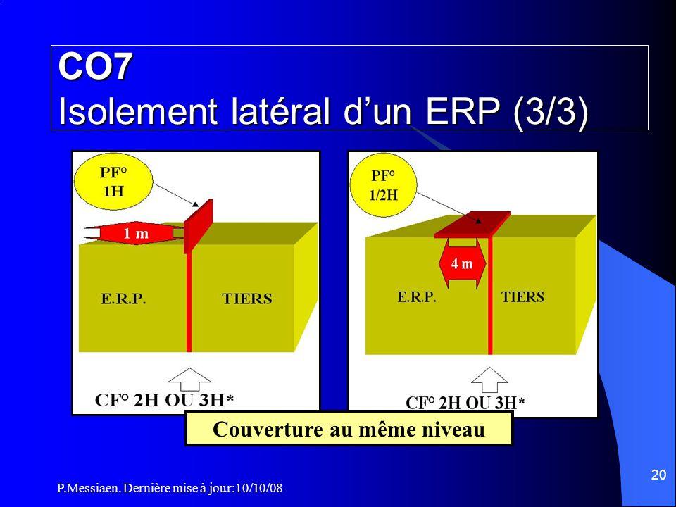 P.Messiaen. Dernière mise à jour:10/10/08 19 CO7 Isolement latéral d'un ERP (2/3) ** OU PF° 1H ET 8 M SI UN DES BATIMENTS A RISQUES PARTICULIERS