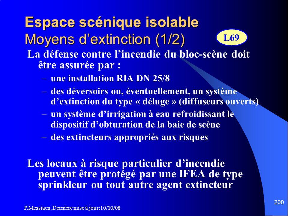 P.Messiaen. Dernière mise à jour:10/10/08 199 Espace scénique isolable Installations électriques  Le bloc-scène ne doit contenir que les canalisation
