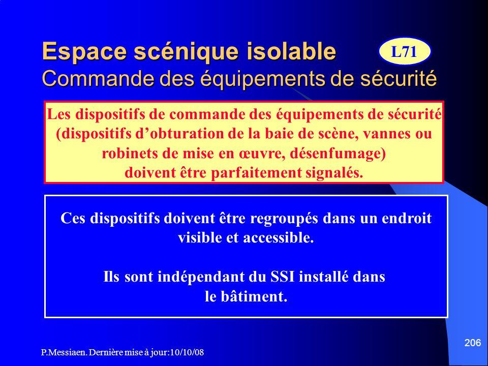 P.Messiaen. Dernière mise à jour:10/10/08 205 Espace scénique isolable Désenfumage du bloc-scène (2/2) ExutoiresMinimum de 2 exutoires de même section