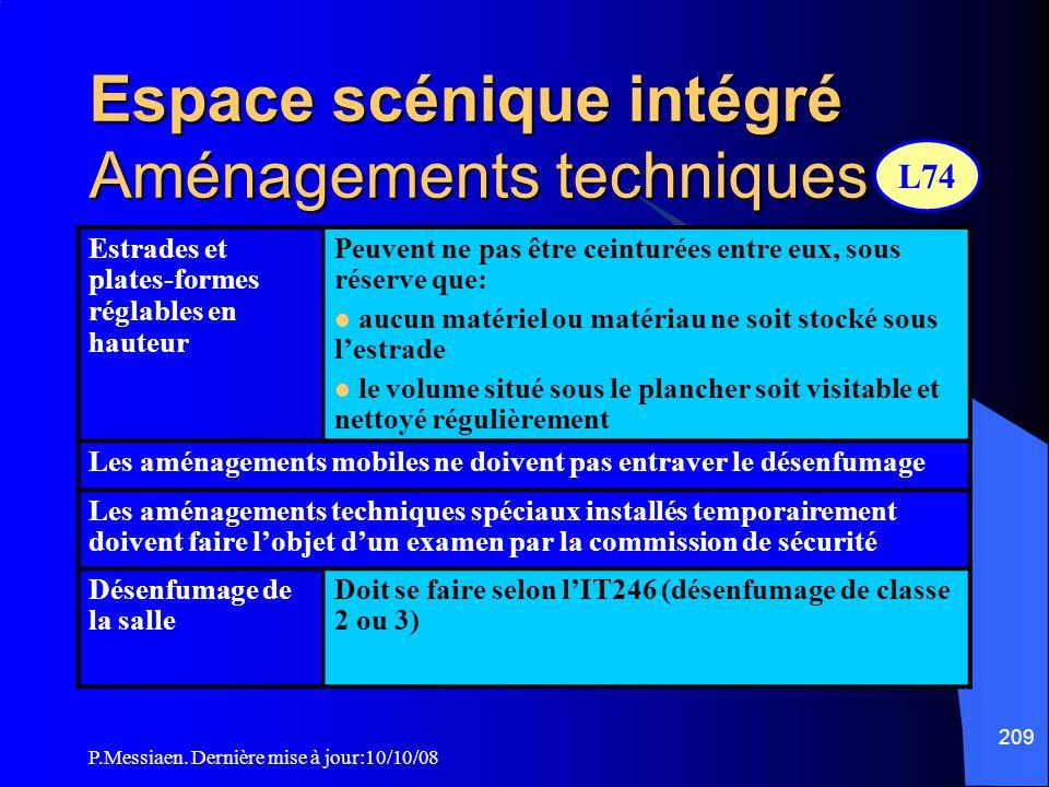 P.Messiaen. Dernière mise à jour:10/10/08 208 Espace scénique intégré Les emplacements modulables peuvent :  soit fluctuer suivant le spectacle envis