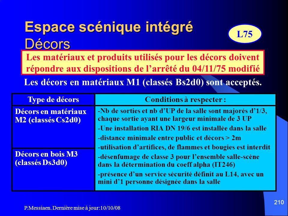 P.Messiaen. Dernière mise à jour:10/10/08 209 Espace scénique intégré Aménagements techniques Estrades et plates-formes réglables en hauteur Peuvent n