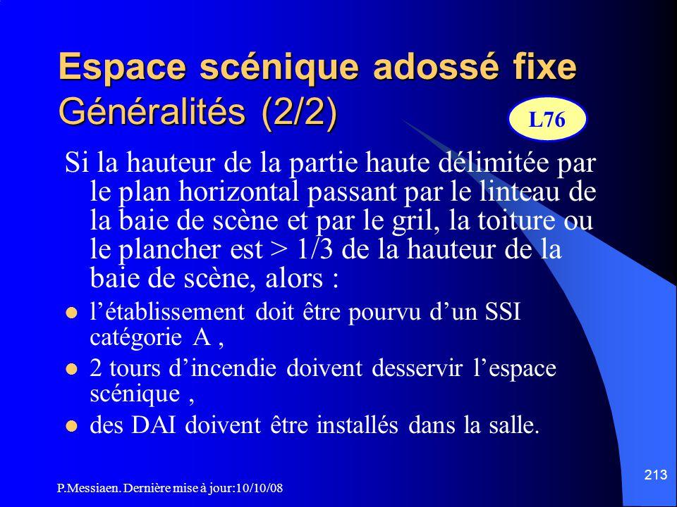 P.Messiaen. Dernière mise à jour:10/10/08 212 Espace scénique adossé fixe Généralités (1/2)  Un espace scénique adossé fixe est un espace scénique no