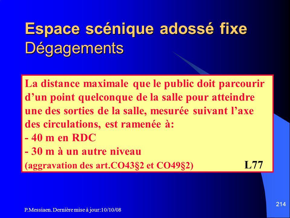 P.Messiaen. Dernière mise à jour:10/10/08 213 Espace scénique adossé fixe Généralités (2/2) Si la hauteur de la partie haute délimitée par le plan hor