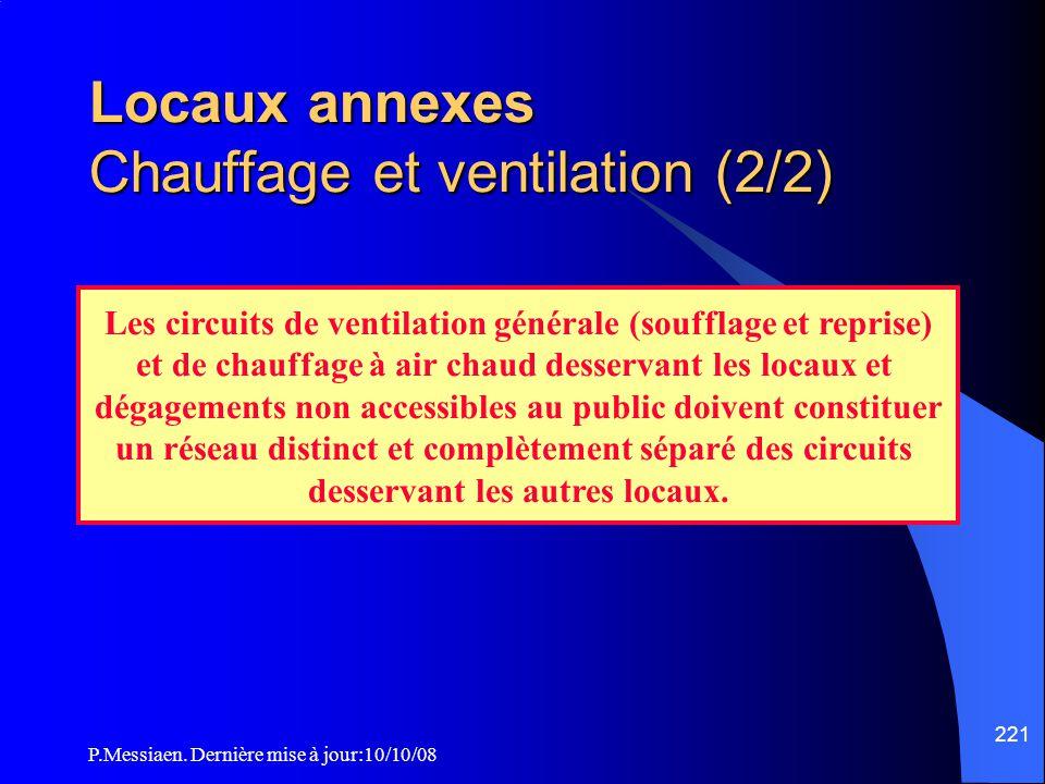 P.Messiaen. Dernière mise à jour:10/10/08 220 Locaux annexes Chauffage et ventilation (1/2) En complément de l'article L12 : Chauffage des locaux admi