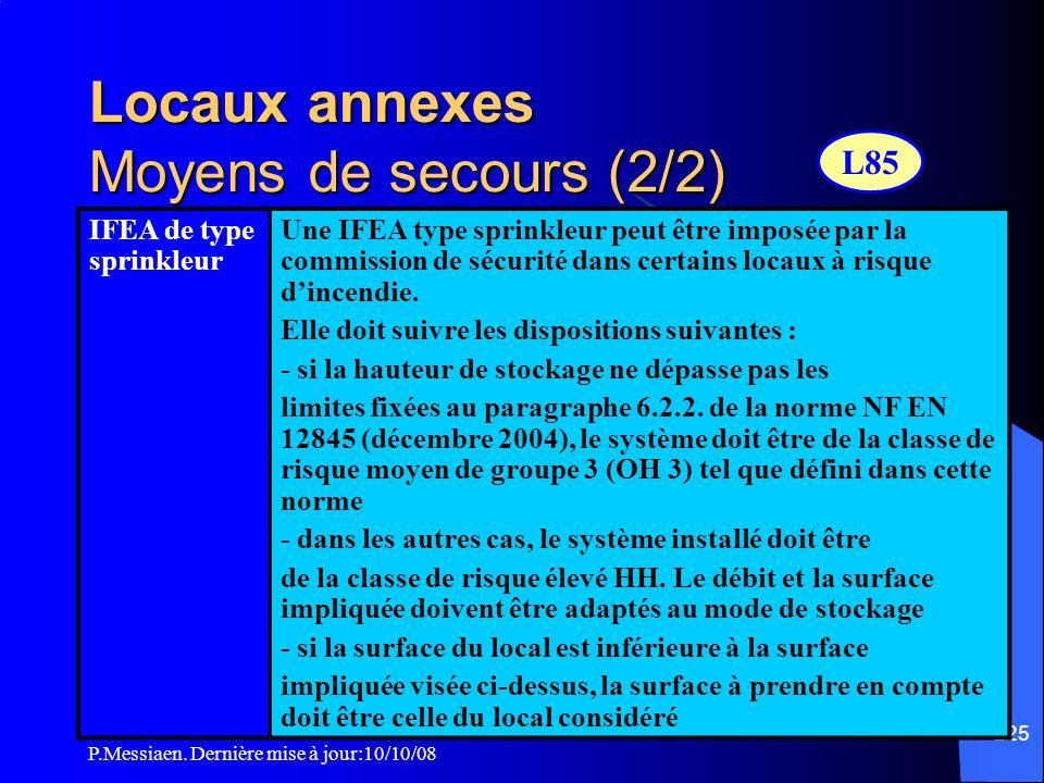 P.Messiaen. Dernière mise à jour:10/10/08 224 Locaux annexes Moyens de secours (1/2) ExtincteursExtincteurs eau pulvérisée de 6l minimum à raison d'1