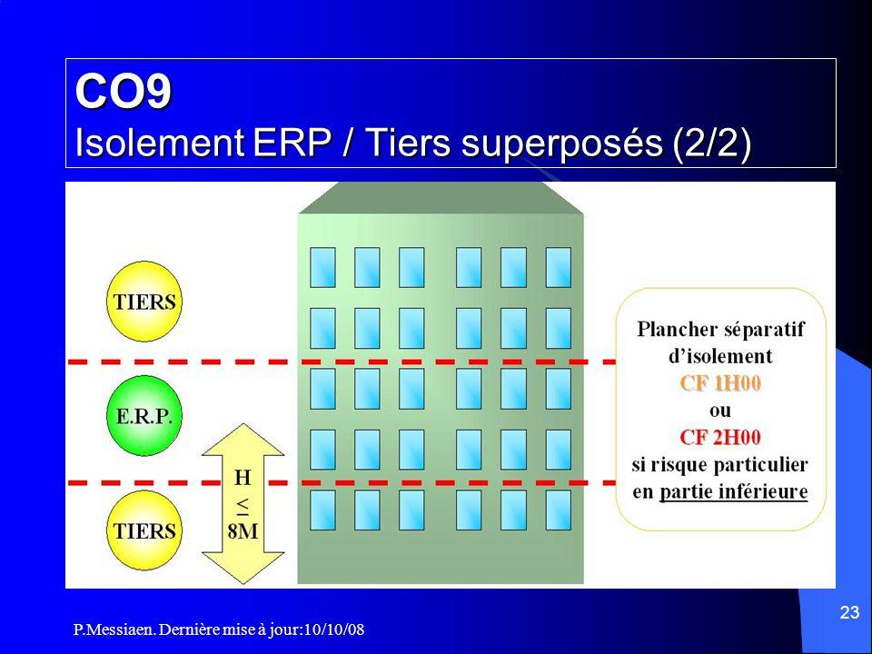 P.Messiaen. Dernière mise à jour:10/10/08 22 CO9 Isolement ERP / Tiers superposés (1/2)