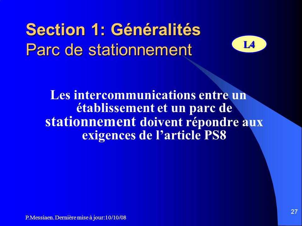 P.Messiaen. Dernière mise à jour:10/10/08 26 Section 1: Généralités Calcul de l'effectif admissible (2/2) Cabarets 4 personnes/3 m² de surface de la s