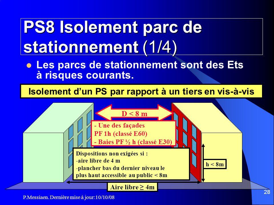 P.Messiaen. Dernière mise à jour:10/10/08 27 Section 1: Généralités Parc de stationnement Les intercommunications entre un établissement et un parc de