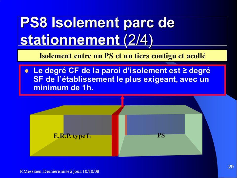 P.Messiaen. Dernière mise à jour:10/10/08 28 PS8 Isolement parc de stationnement (1/4)  Les parcs de stationnement sont des Ets à risques courants. I