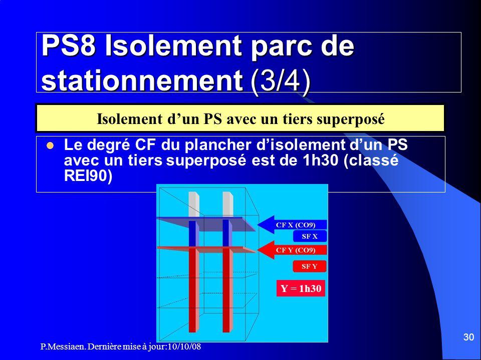 P.Messiaen. Dernière mise à jour:10/10/08 29 PS8 Isolement parc de stationnement (2/4)  Le degré CF de la paroi d'isolement est ≥ degré SF de l'établ