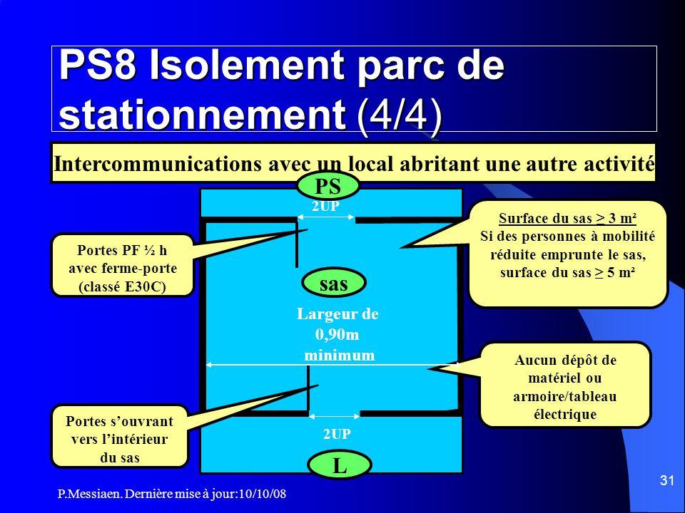 P.Messiaen. Dernière mise à jour:10/10/08 30 PS8 Isolement parc de stationnement (3/4)  Le degré CF du plancher d'isolement d'un PS avec un tiers sup