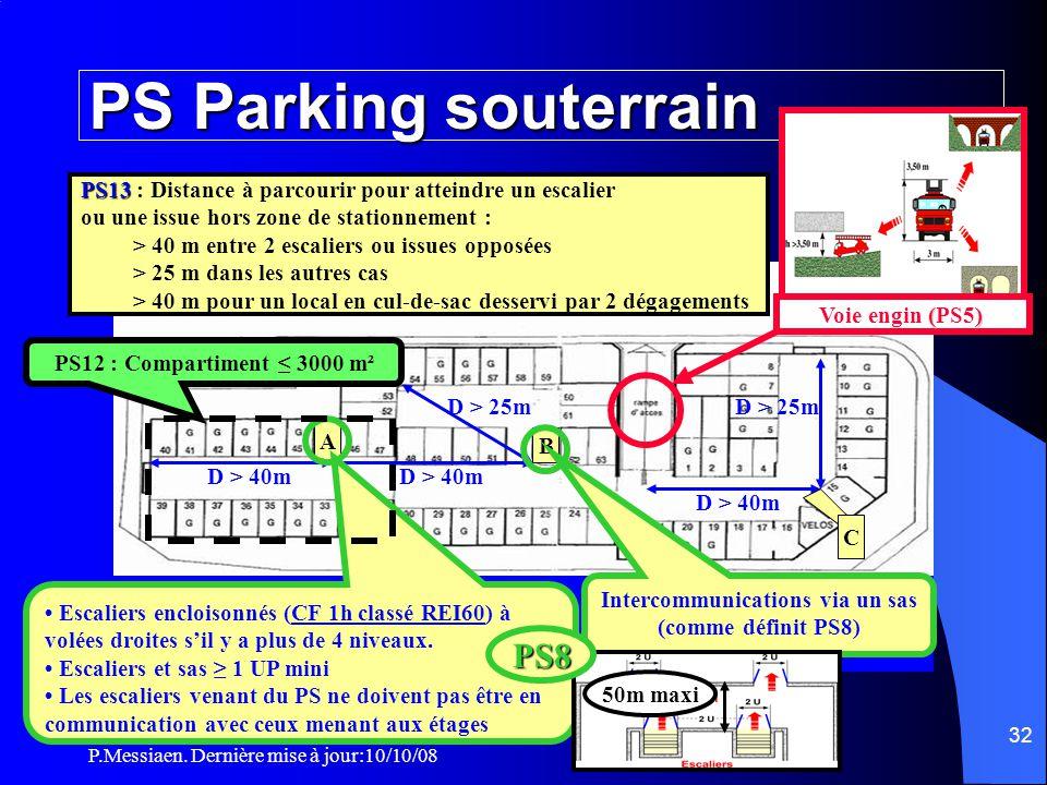 P.Messiaen. Dernière mise à jour:10/10/08 31 PS8 Isolement parc de stationnement (4/4) Intercommunications avec un local abritant une autre activité L
