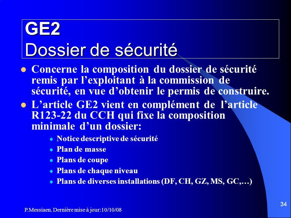 P.Messiaen. Dernière mise à jour:10/10/08 33 Section 1: Généralités Plans du dossier de sécurité Type de salle Informations reportées sur les plans en