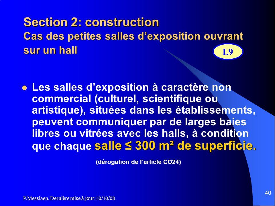 P.Messiaen. Dernière mise à jour:10/10/08 39 Section 2: construction Locaux à risques particuliers L8 Locaux à risques importants Locaux à risques moy
