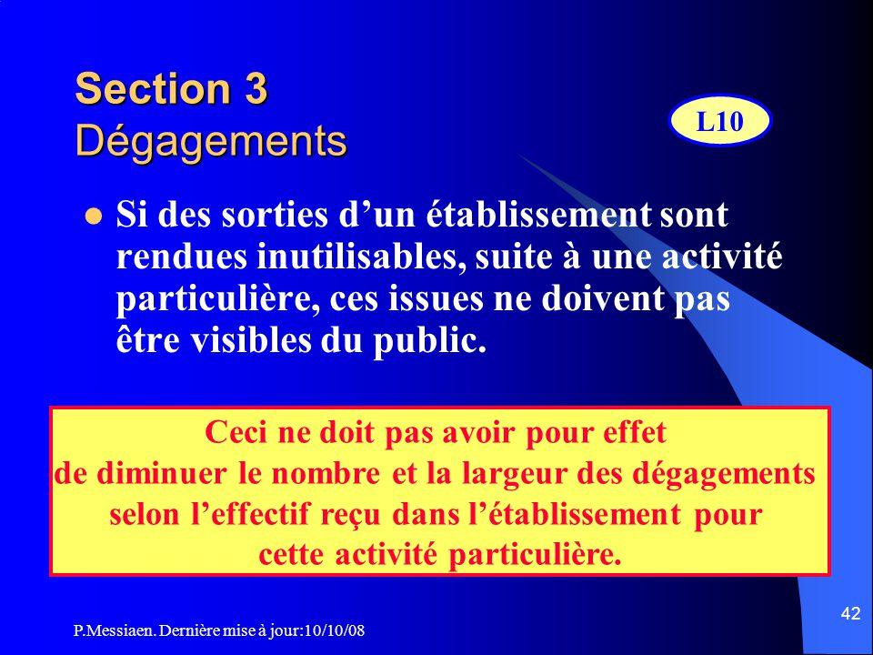 P.Messiaen. Dernière mise à jour:10/10/08 41 Article CO24 Cloisonnement traditionnel & secteur Degré SF structure (CO12) Parois entre locaux & dégagem