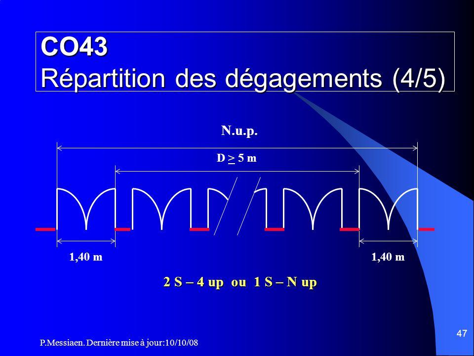 P.Messiaen. Dernière mise à jour:10/10/08 46 D < 5 m 1,40 m 1 S – 6 up D > 5 m 1,40 m 2 S – 4 up