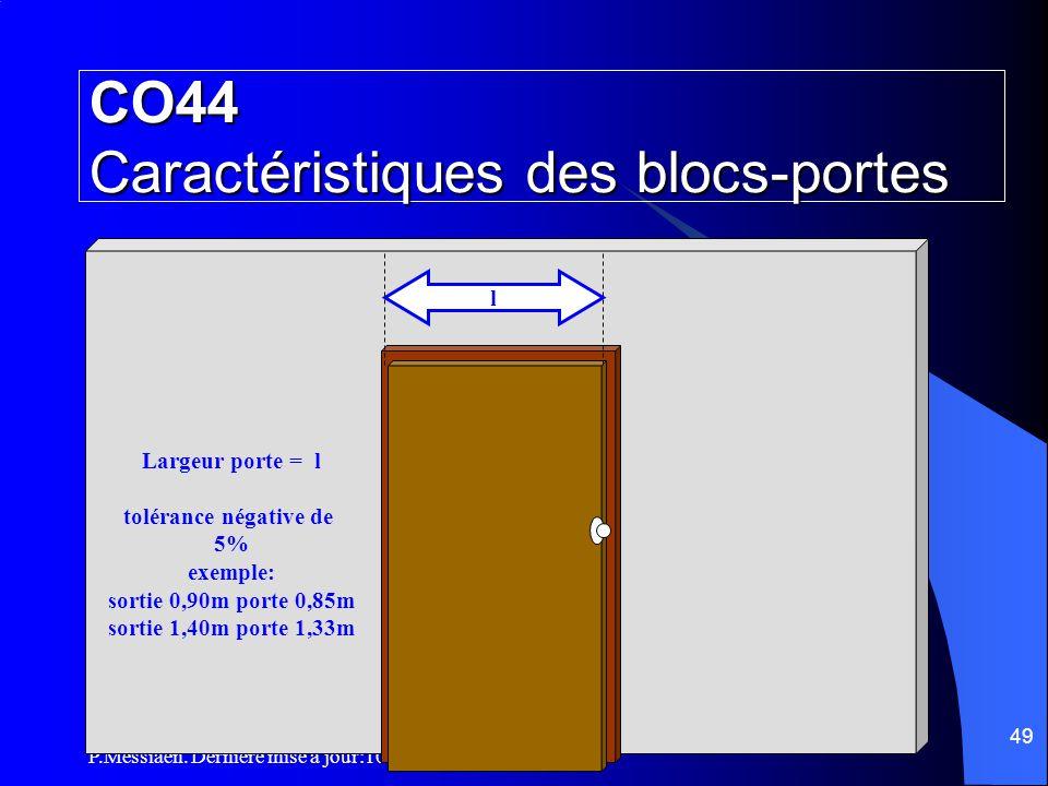 P.Messiaen. Dernière mise à jour:10/10/08 48 Surface accessible au public D < à 5 mètres + de 5 mètres CO43 Répartition des dégagements (5/5) Applicat