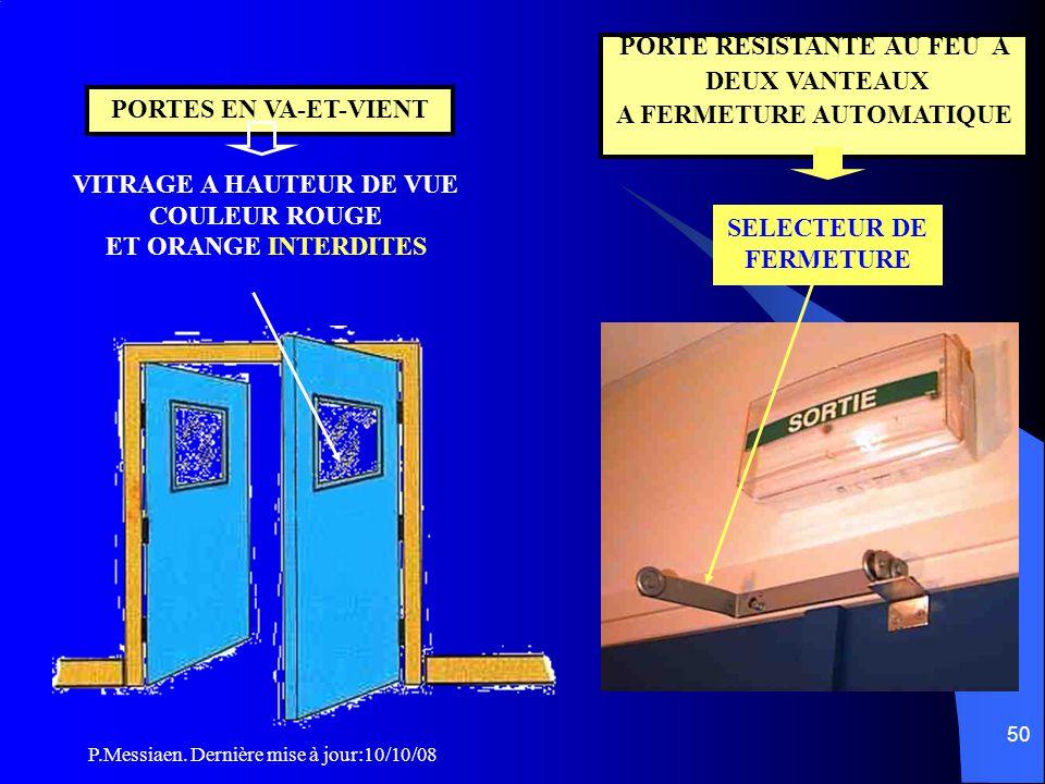 P.Messiaen. Dernière mise à jour:10/10/08 49 CO44 Caractéristiques des blocs-portes l Largeur porte = l tolérance négative de 5% exemple: sortie 0,90m