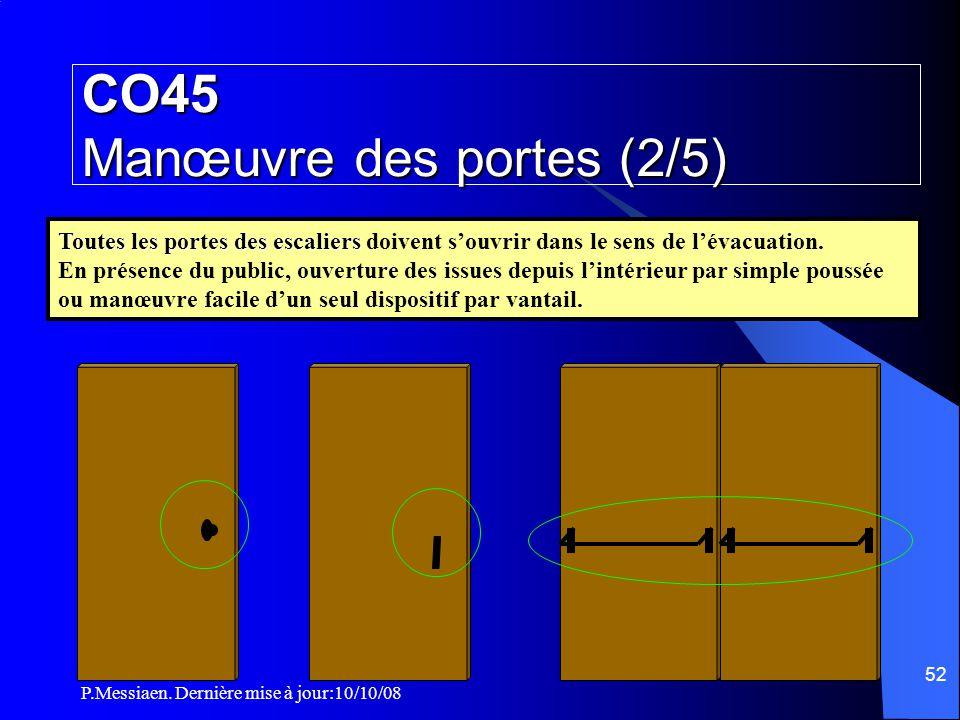 P.Messiaen. Dernière mise à jour:10/10/08 51 CO45 Manœuvre des portes (1/5) Locaux, niveaux, secteurs, compartiments si EFFECTIF > 50 Pers.
