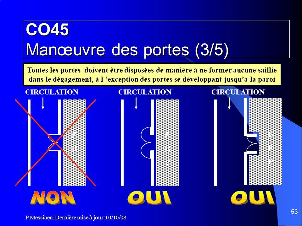 P.Messiaen. Dernière mise à jour:10/10/08 52 Toutes les portes des escaliers Toutes les portes des escaliers doivent s'ouvrir dans le sens de l'évacua