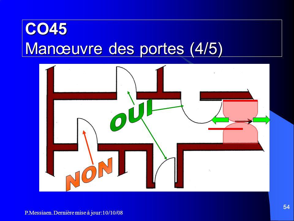 P.Messiaen. Dernière mise à jour:10/10/08 53 Toutes les portes doivent être disposées de manière à ne former aucune saillie dans le dégagement, à l 'e