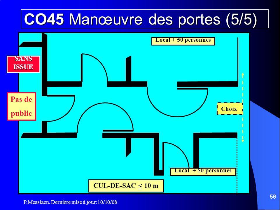 P.Messiaen. Dernière mise à jour:10/10/08 55 SANS ISSUE Non lumineux couleur rouge Ouverture dans le sens d 'évacuation des locaux Portes des locaux e