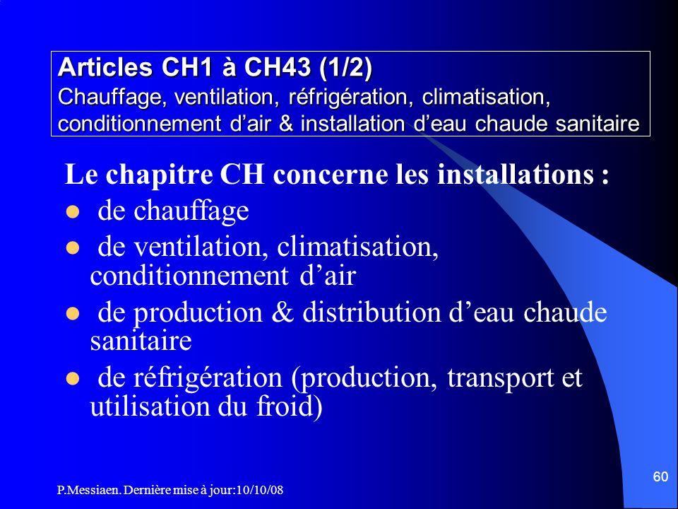 P.Messiaen. Dernière mise à jour:10/10/08 59 Section 4 Chauffage et ventilation La reprise ou diffusion d'air depuis un plénum situé sous les gradins