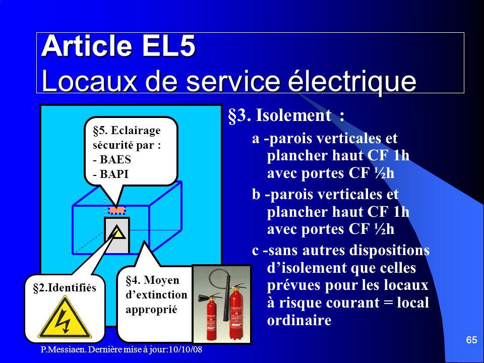 P.Messiaen. Dernière mise à jour:10/10/08 64 Section 5 Installations électriques Emplacement des organes de puissance  Les organes de puissance doive