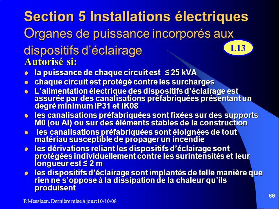 P.Messiaen. Dernière mise à jour:10/10/08 65 Article EL5 Locaux de service électrique §3. Isolement : a -parois verticales et plancher haut CF 1h avec