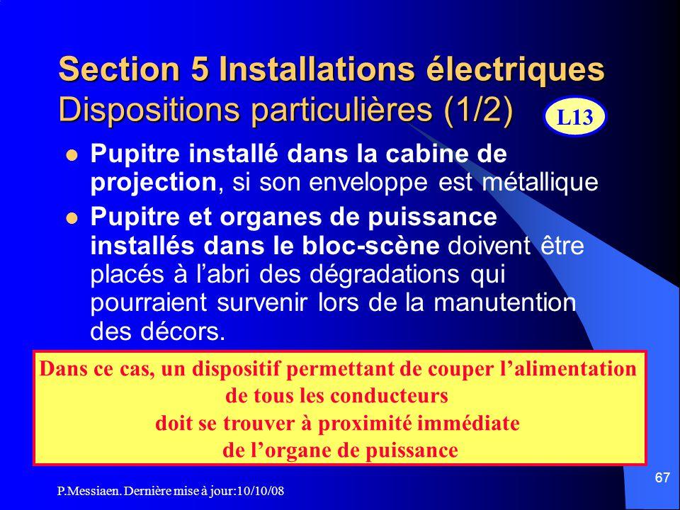 P.Messiaen. Dernière mise à jour:10/10/08 66 Section 5 Installations électriques O rganes de puissance incorporés aux dispositifs d'éclairage Autorisé