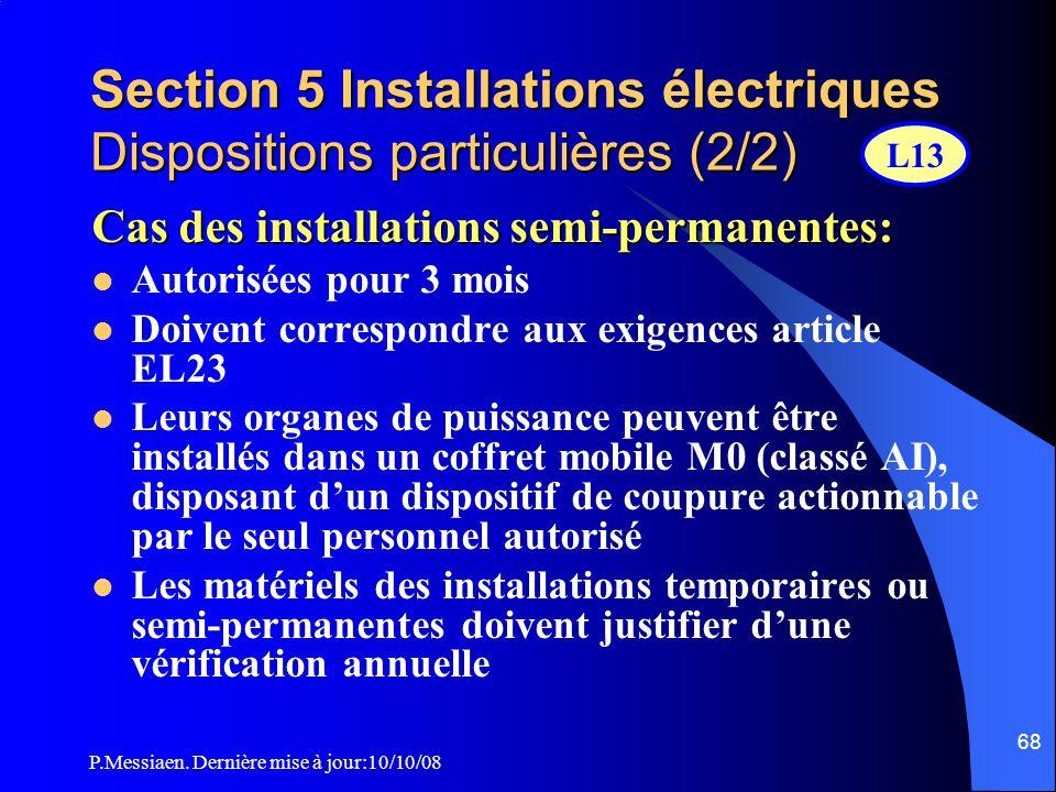 P.Messiaen. Dernière mise à jour:10/10/08 67 Section 5 Installations électriques Dispositions particulières (1/2)  Pupitre installé dans la cabine de