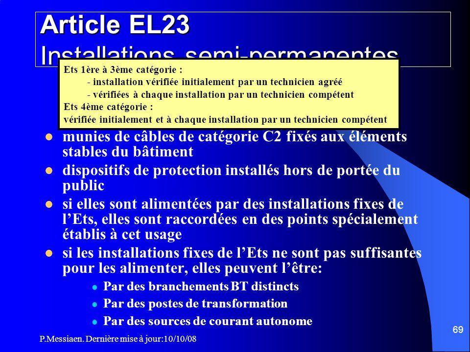 P.Messiaen. Dernière mise à jour:10/10/08 68 Section 5 Installations électriques Dispositions particulières (2/2) Cas des installations semi-permanent