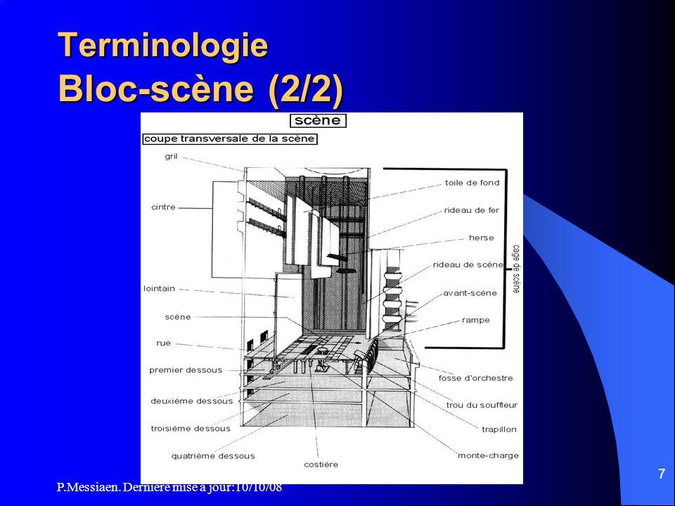 P.Messiaen. Dernière mise à jour:10/10/08 6 Terminologie Bloc-scène (1/2) 1. Loges 2. Arrière-scène 3. Locaux techniques (extraction air et ventilatio