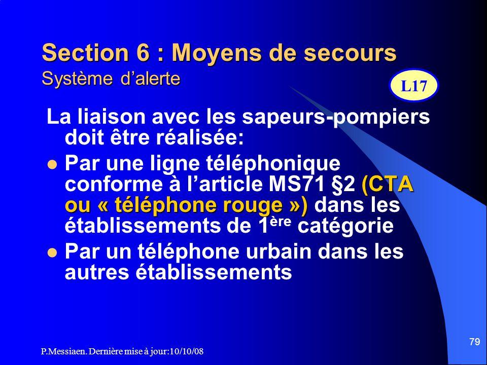 P.Messiaen. Dernière mise à jour:10/10/08 78 Section 6 : Moyens de secours Equipements d'alarme (EA) (2/2)  EA de type 1 (SSI catégorie A) et dans le