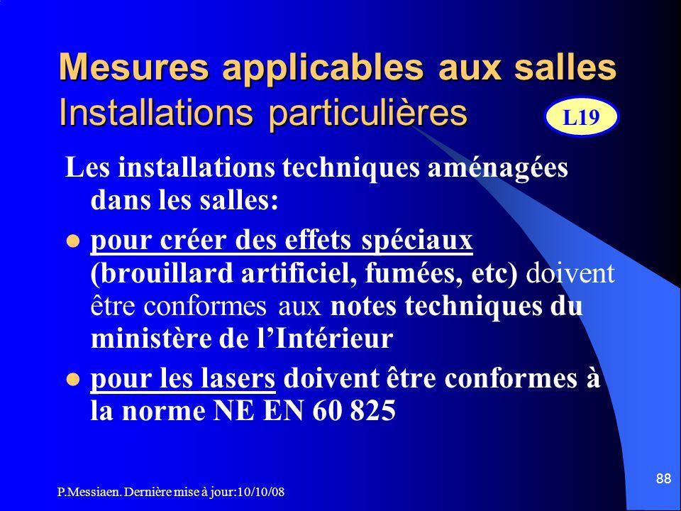 P.Messiaen. Dernière mise à jour:10/10/08 87 Mesures applicables aux salles salle Loges artistes Fosse d'orchestre bar hall Bloc-salle dessous des gra