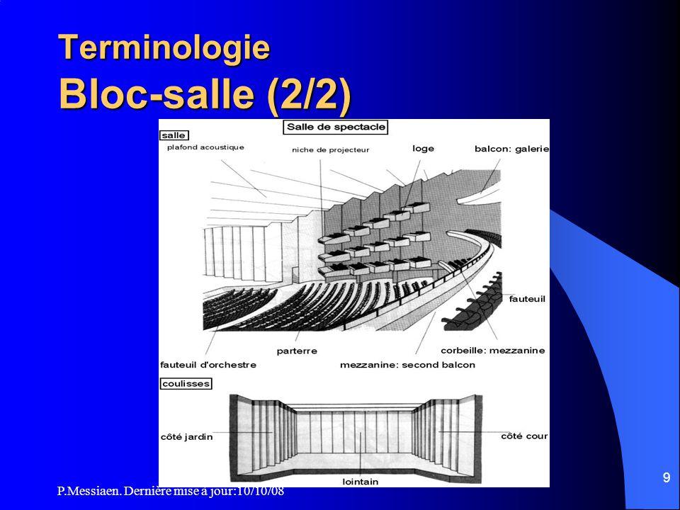 P.Messiaen. Dernière mise à jour:10/10/08 8 Terminologie Bloc-salle (1/2) 10. Evacuation des fumées de la salle transformable 11. Gril (plafond techni