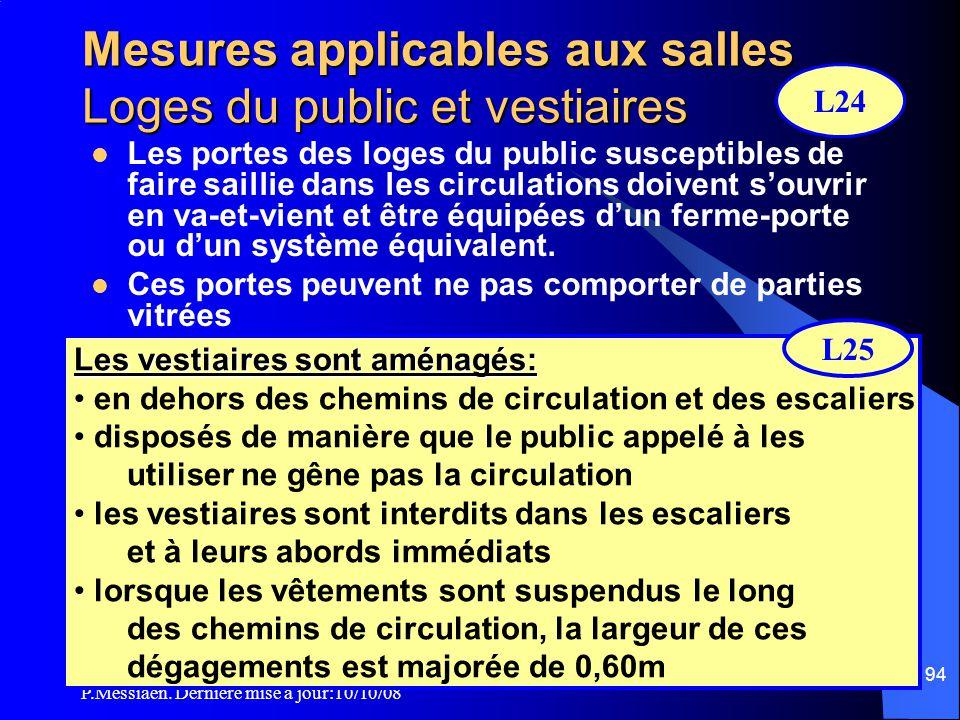P.Messiaen. Dernière mise à jour:10/10/08 93 Mesures applicables aux salles Sorties  Tous les établissements doivent être desservis par des dégagemen