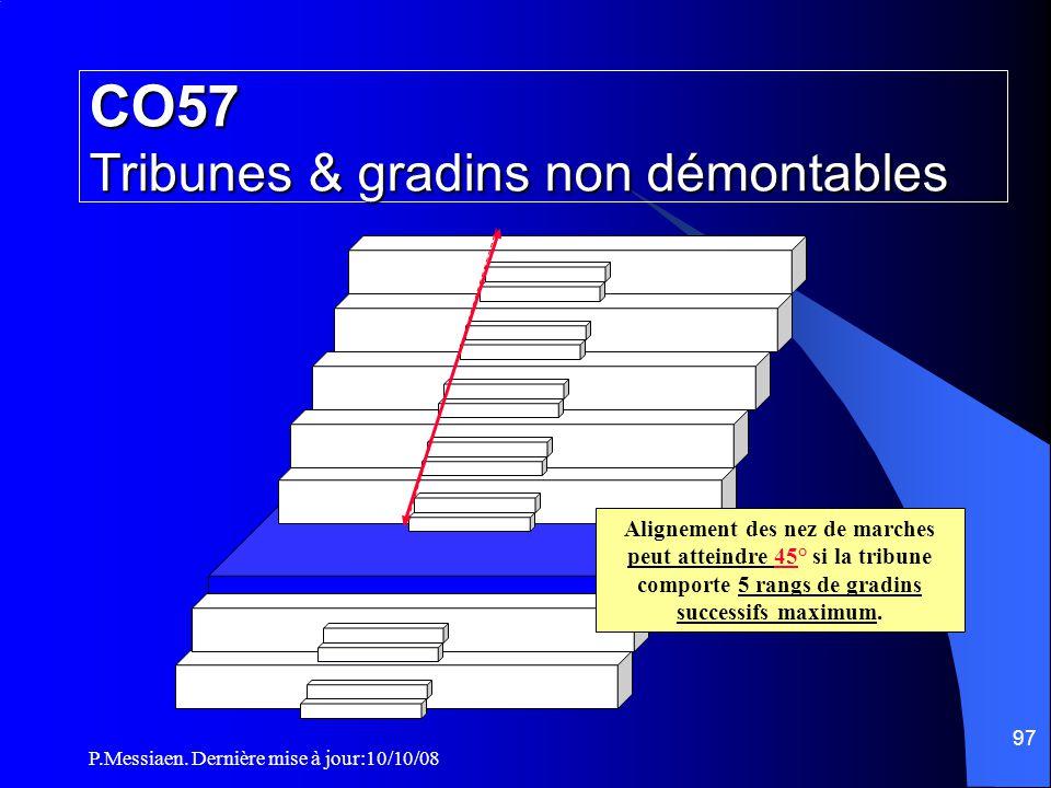 P.Messiaen. Dernière mise à jour:10/10/08 96 CO57 Tribunes & gradins non démontables G Les marches des circulations, à l 'intérieur des salles de spec