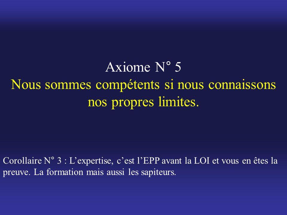 Axiome N° 5 Nous sommes compétents si nous connaissons nos propres limites. Corollaire N° 3 : L'expertise, c'est l'EPP avant la LOI et vous en êtes la