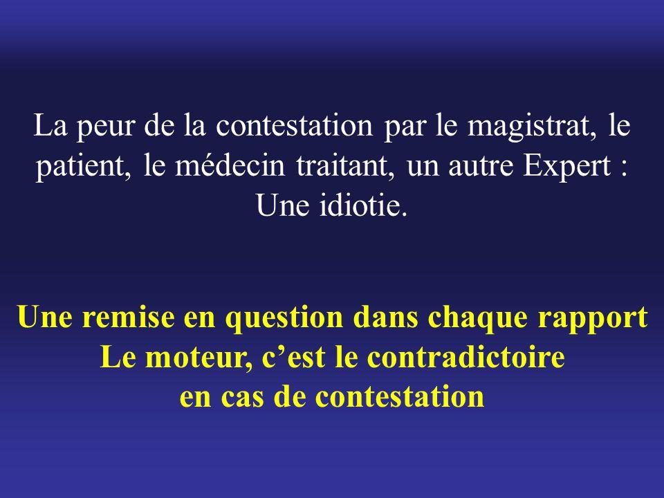 La peur de la contestation par le magistrat, le patient, le médecin traitant, un autre Expert : Une idiotie. Une remise en question dans chaque rappor