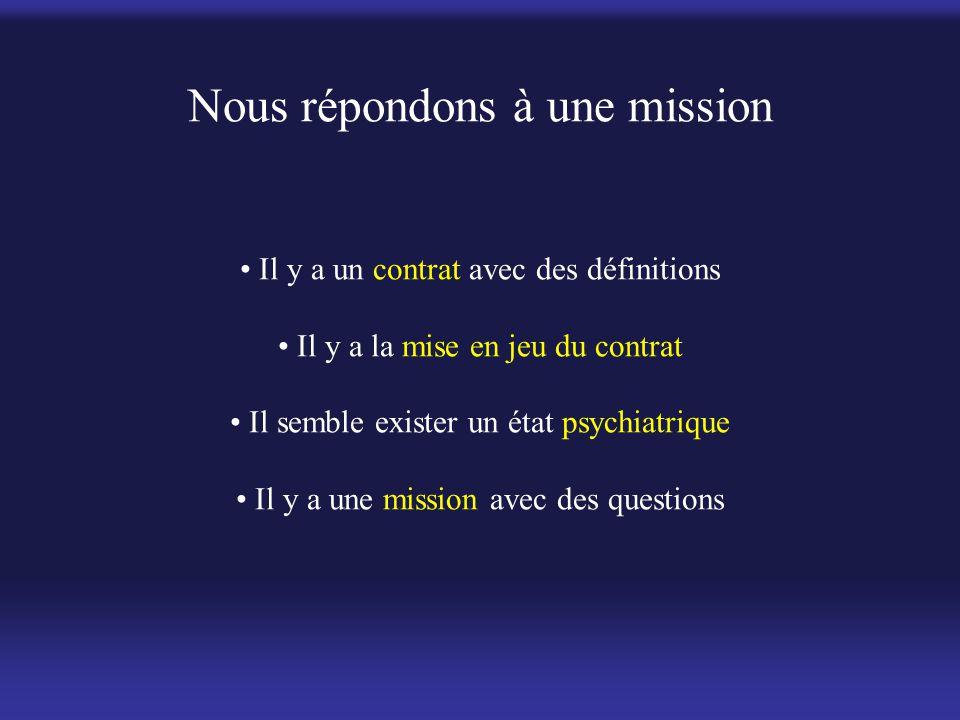 Nous répondons à une mission • Il y a un contrat avec des définitions • Il y a la mise en jeu du contrat • Il semble exister un état psychiatrique • I