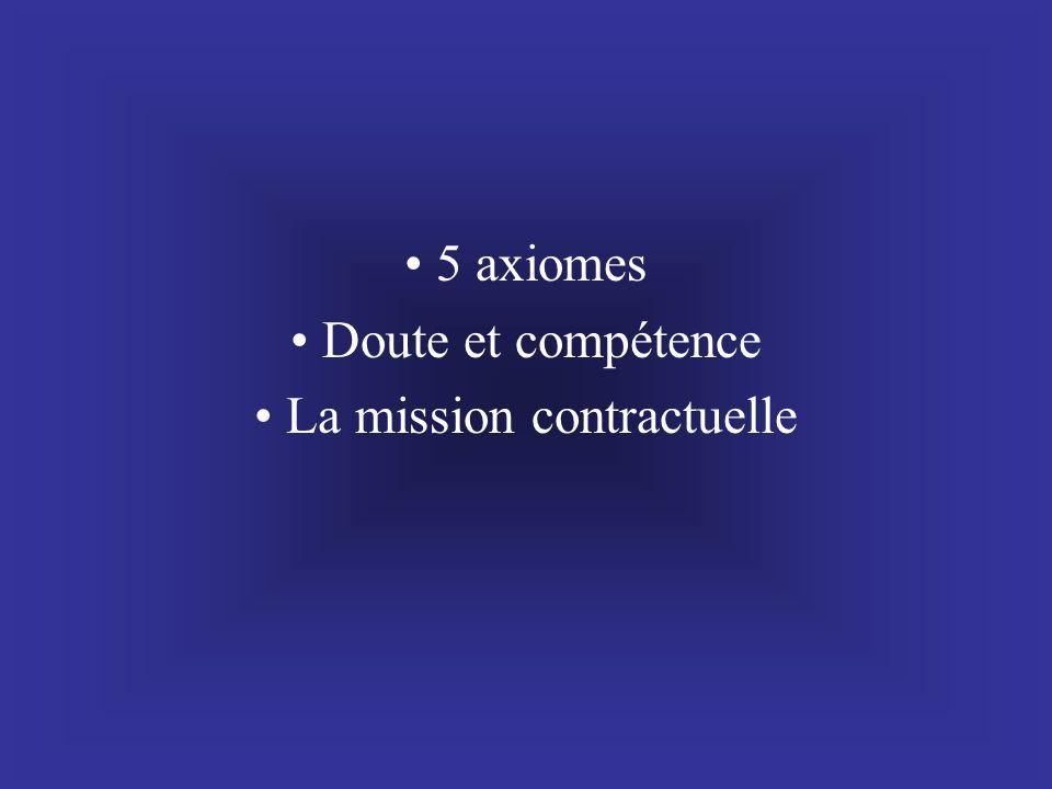 • 5 axiomes • Doute et compétence • La mission contractuelle